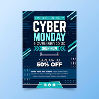 Cyber monday flyer template in flat design