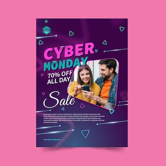 Cyber monday flyer template in vertical format