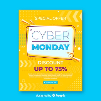 Cyber monday flyer template with flat design