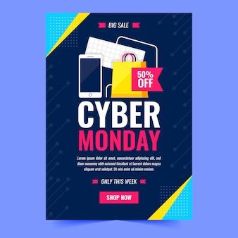 Modello di volantino cyber lunedì con illustrazioni