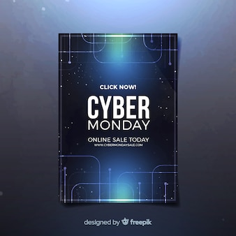 Cyber monday flyer template with realistic design