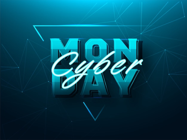Cyber monday font on teal abstract plexus shapes background can be used as poster design.