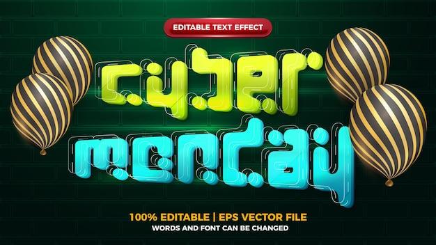 Cyber monday futuristic 3d editbale text effect