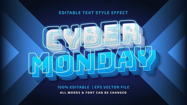 Киберпонедельник футуристический эффект стиля текста 3d. редактируемый стиль текста иллюстратора.