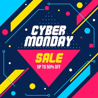 Cyber monday geometric abstract banner