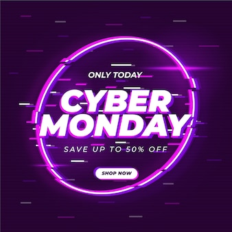 Cyber monday glitch banner template