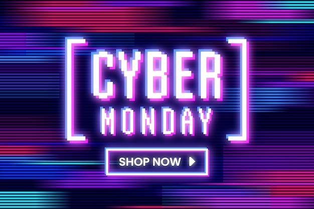 Cyber monday glitched in various colours and motion
