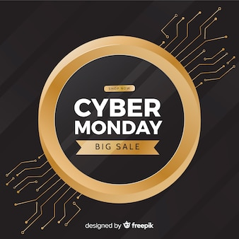 Cyber monday golden circle background