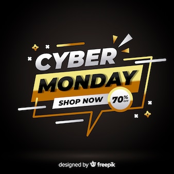 Cyber monday golden speech bubble background