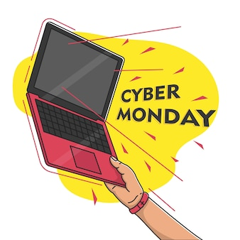Cyber monday hand pick up laptop vector