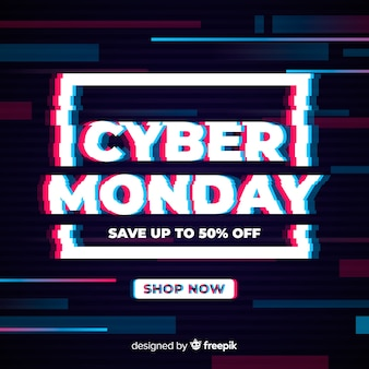 Cyber monday inscription in distorted glitch style