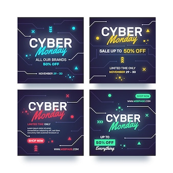Cyber monday instagram posts set