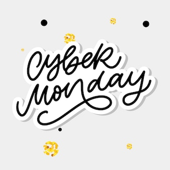 Cyber monday lettering calligraphy text brush
