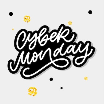 Cyber monday  lettering calligraphy text