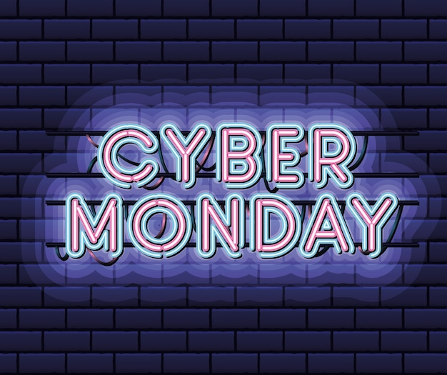 Cyber monday lettering in neon font of pink and blue color on dark blue illustration design