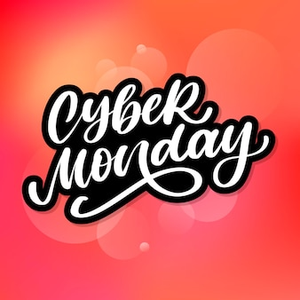 Cyber monday lettering text brush