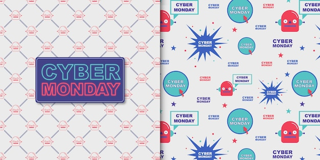 Cyber monday lettering and transparent pattern