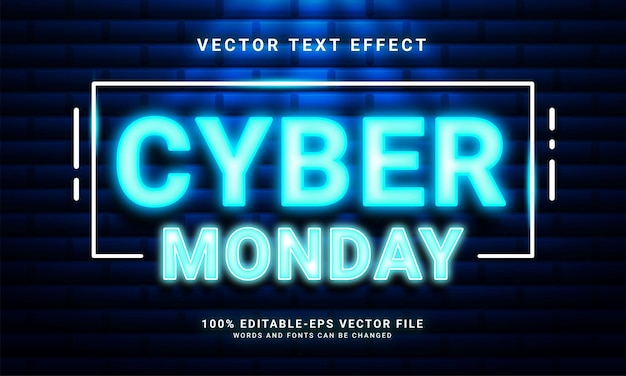 Cyber monday light editable text effect suitable for  cyber monday themed events.