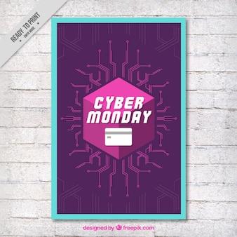 Cyber lunedi brochure moderno con linee