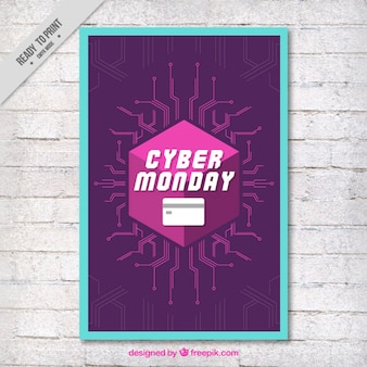 Cyber monday modern brochure with lines