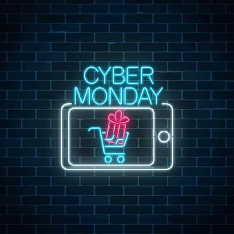 Кибер понедельник неоновый рекламный баннер продажи мобильных приложений.