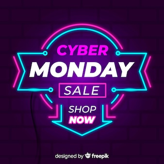 Cyber monday neon arrow background