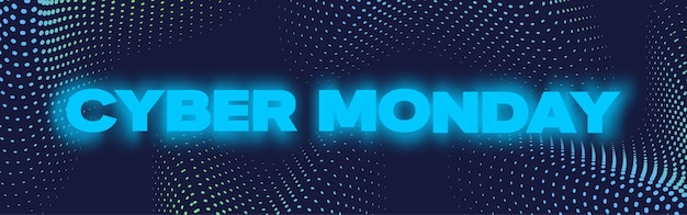 Cyber monday neon banner poster or flayer template