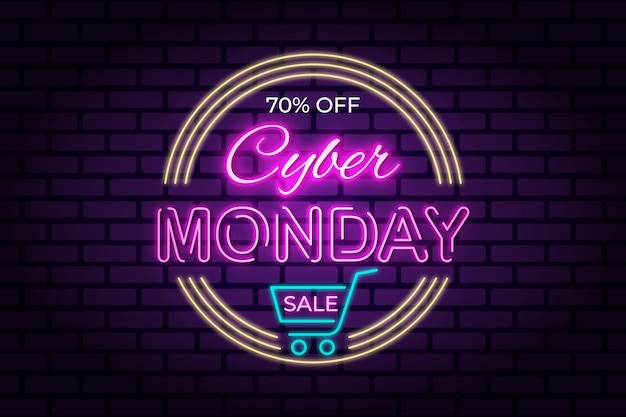 Cyber monday neon banner