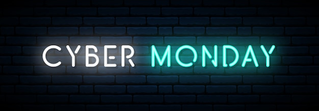 Cyber monday neon banner.