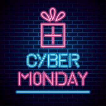 Cyber monday neon  on bricks background, sale offer banner
