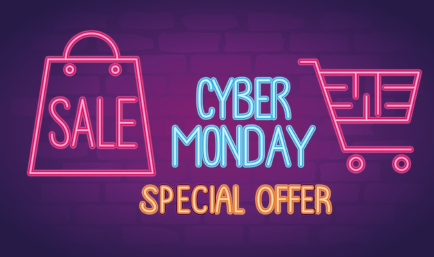 Cyber monday neon lettering with shopping bag and cart illustration design
