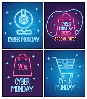 Cyber monday neon letterings blue and purple banners design