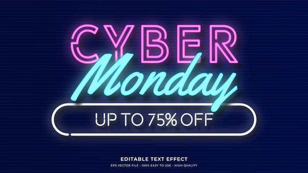 Cyber monday neon light typography premium editable text effect