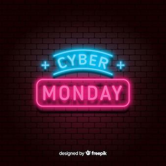 Cyber monday neon sale background