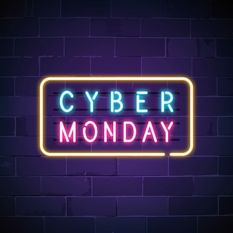 Cyber monday neon sign
