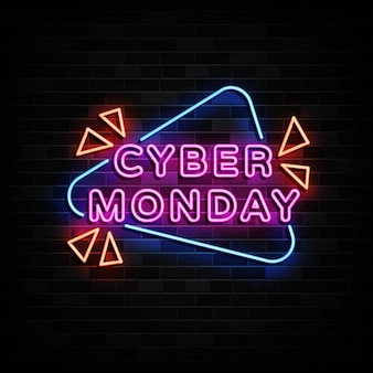 Cyber monday neon signs   design template neon style