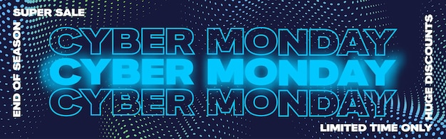 Cyber monday neon typography banner poster or flayer template