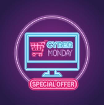 Киберпонедельник неон с тележкой в компьютерном дизайне, распродажа в интернет-магазине