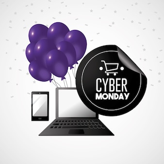 Cyber monday offer to shopping online with laptop technology