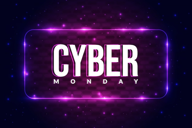 Cyber monday poster background with glowing concept.
