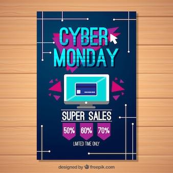 Cyber monday poster in design piatto