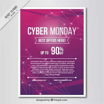 Cyber monday poster with abstract purple background