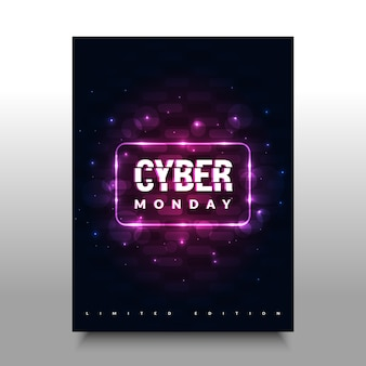 Cyber monday poster with colorful, glitch, and futuristic design.