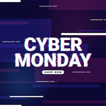 Cyber monday promo banner with lines on glitch screen