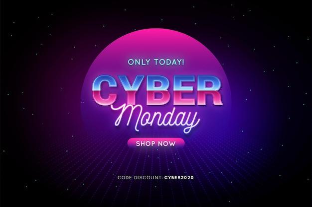 Cyber monday promo in retro futuristic style