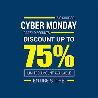 Cyber monday promotion on a blue background