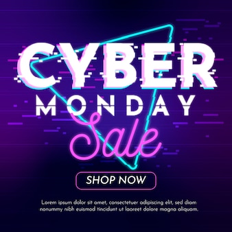 Cyber monday promotion in glitch style