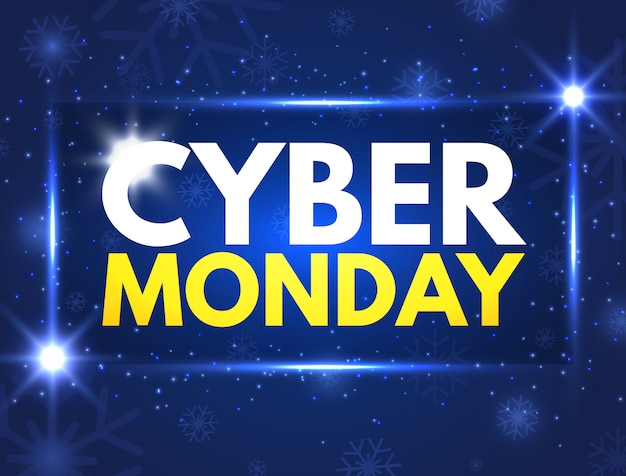 Cyber monday promotion. luminous signboard, nightly advertising.
