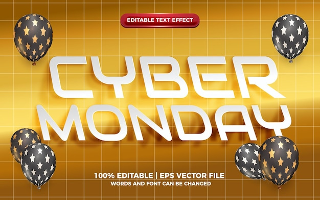 Cyber monday realistic white cutout paper editable text effect on golden bakcground