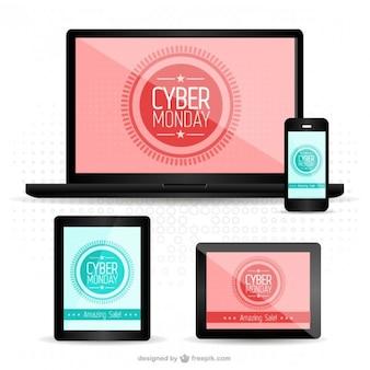 Кибер понедельник адаптивный веб-дизайн Бесплатные векторы
